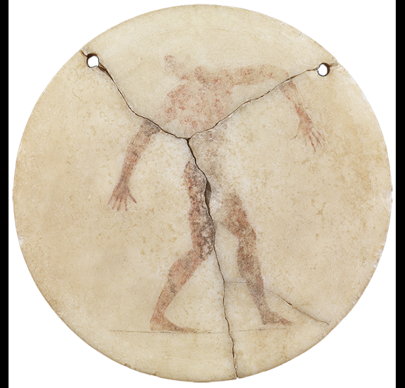 Marble disc with painted representation of a discus thrower