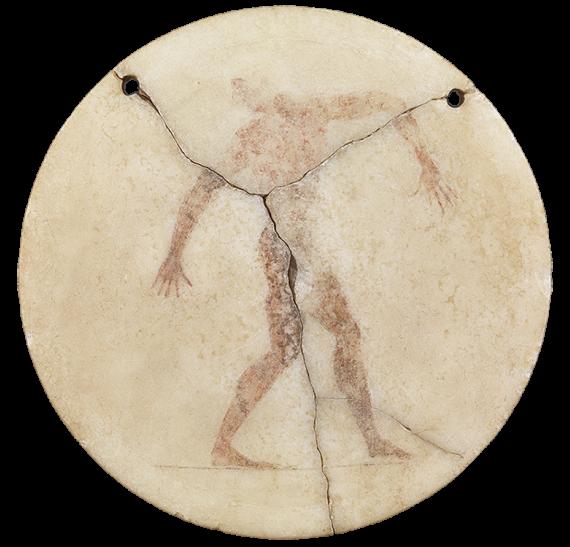 Μαρμάρινος δίσκος με γραπτή παράσταση δισκοβόλου