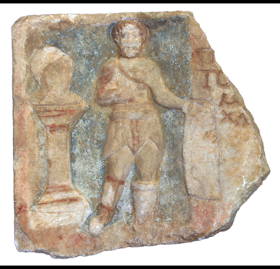Funerary relief of a gladiator (ΜΘ 28158). © Ministry of Culture - AMTh