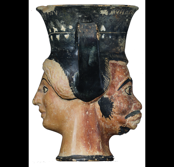 Janiform head-kantharos of the early 5th c. B.C. from Akanthos. © Greek Ministry of Culture - AMTh