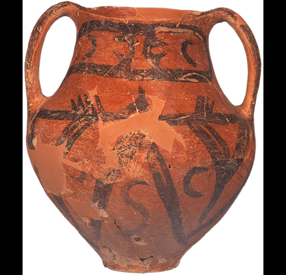 Neolithic amphora with painted decoration