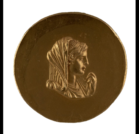 Gold medallion depicting Olympias