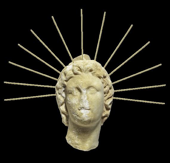 Μαρμάρινη κεφαλή του θεού Ήλιου, Σάνη, τέλη 4ου - αρχές 3ου αι. π.Χ. © ΥΠΠΟΑ ΕΦΑ Χαλκιδικής & Αγίου Όρους