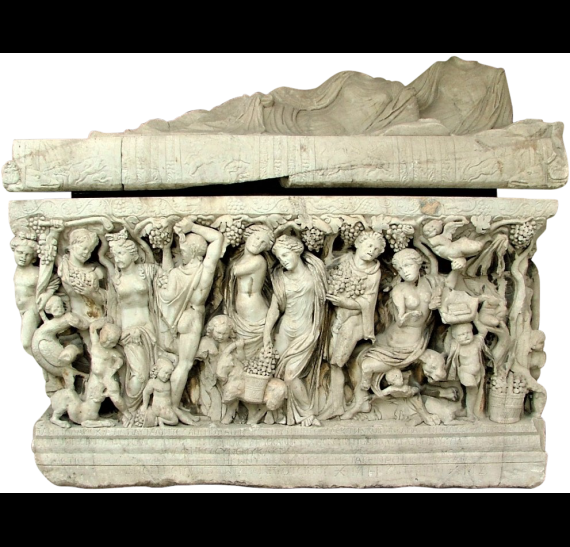 Marble sarcophagus depicting a dionysiac grape harvest scene. ©Ministry of Culture-AMTh