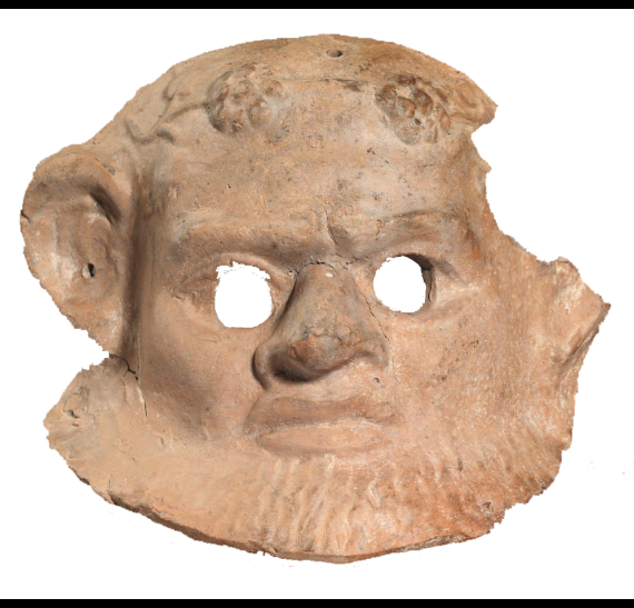 Πήλινη θεατρική μάσκα με τη μορφή Παπποσιληνού (1ος - 2ος αι. μ.Χ.). © ΥΠΠΟΑ-ΑΜΘ