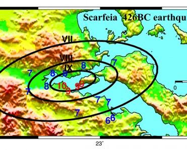 Κατανομή βλαβών στην κλίμακα Mercalli του σεισμού της Σκάρφειας το 426 π.χ. βασισμένη στις περιγραφές των Θουκυδίδη, Καλατιανού.