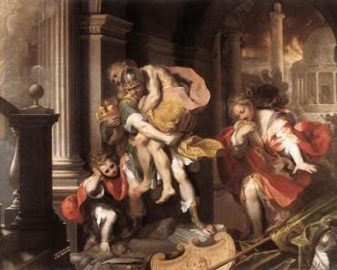Ο Αινείας κουβαλάει στην πλάτη του τον πατέρα του Αγχίση στην φλεγόμενη Τροία, Πινακοθήκη Μποργκέζε, Ρώμη.