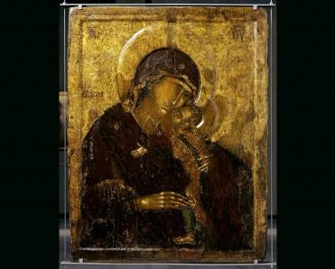 Αμφιπρόσωπη εικόνα με την Παναγία Γλυκοφιλούσα και τη Σταύρωση. MBP (www.mbp.gr)